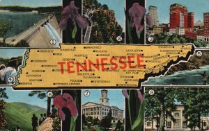 Tennessee, TN, State Map, Multi View, Unused Linen Vintage Postcard h3866