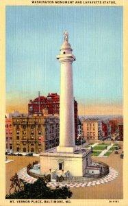 Maryland Baltimore Mt Vernon Place Washingon Monument & Lafayette Statue Curt...