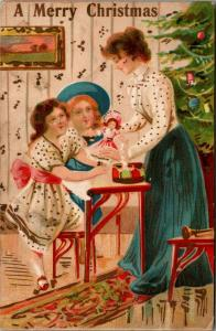 Christmas~Mother in Parlor Gives Doll to Daughter~Decorated Tree~Emboss~Italy