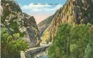 Ogden Canyon, Ogden, Utah, unused linen Postcard