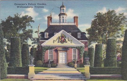 Governor's Palace Garden Williamsburg Virginia 1945