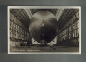 Original Mint RPPC Graf Zeppelin in Hanger real picture postcard Germany Airship
