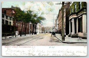 Poughkeepsie NY~Market Street~Fellow & Bicycle Hold Up Tree~Dog on Corner~1908