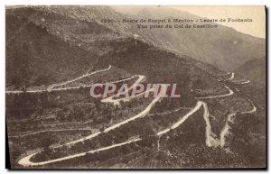 Old Postcard Route Sospel Menton has laces Fontanin View from the Col de Cast...
