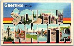 SOUTH DAKOTA Large Letter Postcard Colorful Curteich Linen c1940s Unused