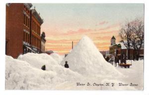 Water St. Winter Scene Clayton NY ca 1910 Leighton