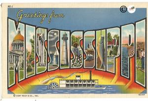 Vintage Linen Postcard Greetings from Mississippi with Riverboat Big Letter