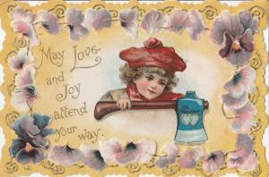 Valentine~Brundage Girl in Red~Heart Ax~Purple Pansy Die-Cut Border~Emboss~c1895