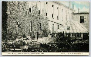 Fort Madison~Iowa State Prison~Flower Garden & Greenhouse~Guard~1910 CU Williams