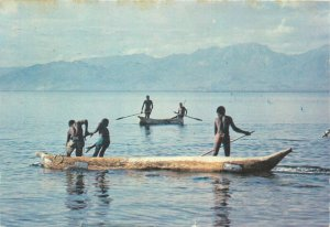 Malawi lake Dugouts pirogue canoe fishing ethnic life boat postcard fishes stamp