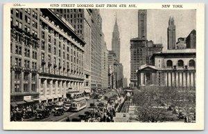 New York City~Trolley on 42nd Street East @ 6th~1920s Cars~Pedestrians~Postcard