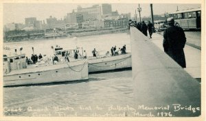 CT - Hartford. 1936 Flood, Coast Guard Boats, Bulkeley Bridge