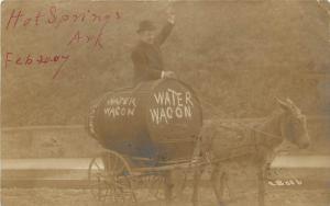 1907 Real Photo Postcard Temperance Man, Donkey Pulls Water Wagon Hot Springs AR