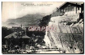 Old Postcard Grenoble Le Jardin des Dauphins with Perspective Neighborhood St...