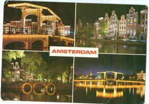 Netherlands, AMSTERDAM, night multi view, unused Postcard