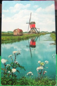 Netherlands Holland Windmill Wipwatermolen Hazerwoude - posted