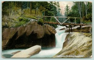White Mountains New Hampshire~Franconia Notch~Rustic Bridge Across Basin~c1910