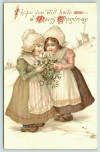Ernest Nister Christmas~Dutch Girls Hold Mistletoe Holly Bouquet~Windmills~1908