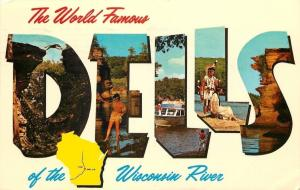 Large Letter Chrome: Pretty Indian~Couple~World Famous Wisconsin Dells~1973