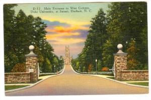 Main Entrance to West Campus, Duke University, at Sunset, Durham, North Carol...