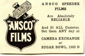 ANSCO Speedex Films Vintage Paper Advertisement