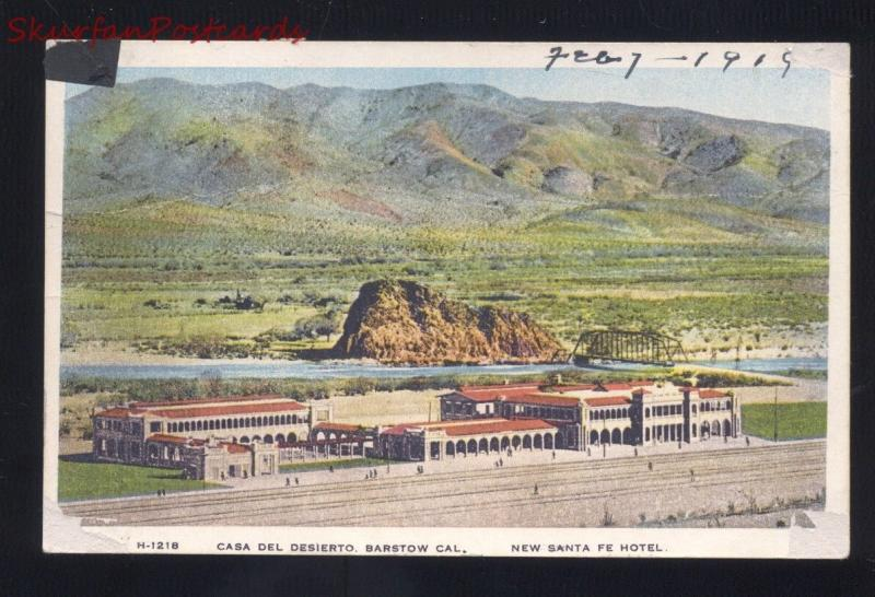 BARSTOW CALIFORNIA FRED HARVEY STATION RAILROAD DEPOT SANTA FE VINTAGE POSTCARD