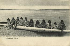 paraguay, Indios, Native Indians in Large Rowing Boat (1899)