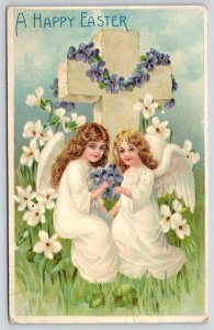 Easter~Curly Haired Angel Girls at Cross~White Purple Violets~Emboss BW Germany
