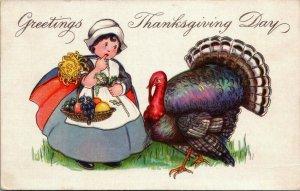 MEP Thanksgiving~Pilgrim Girl Carries Fruit Basket on Arm~Turkey~Art Deco 775 B