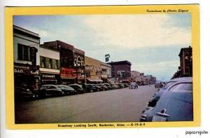 Rochester MN Morey's Bar Street View Old Cars Postcard
