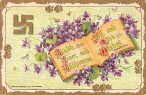 Greetings Good Wishes Flowers Swastika Vintage Postcard JE228294