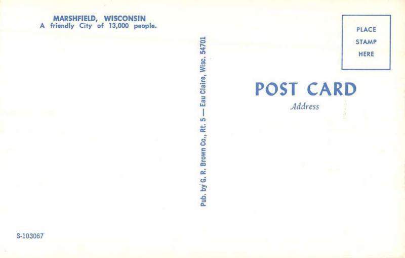 Marshfield Wisconsin Business Section Street Scene Vintage Postcard K98191