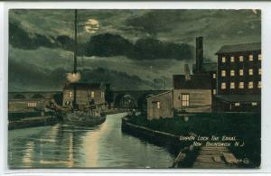 Upper Lock Delaware Raritan Canal Night New Brunswick New Jersey 1908 postcard