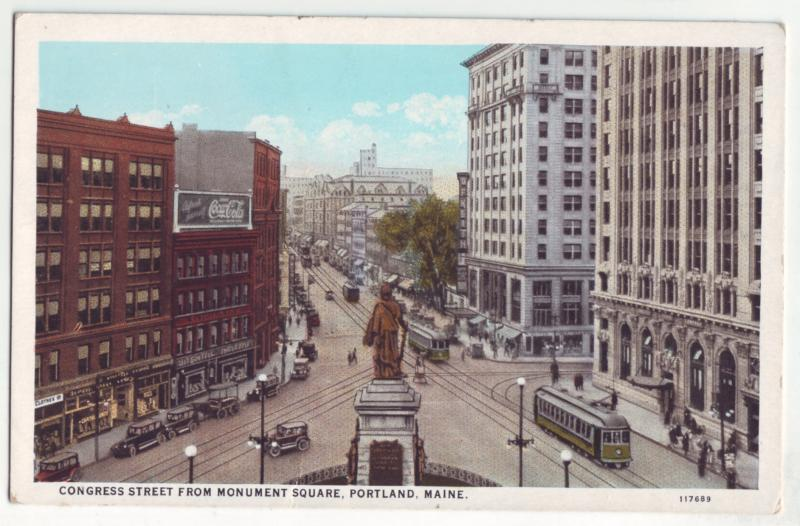 P1089 old card congress st scene trollies old cars coca cola sign portland maine