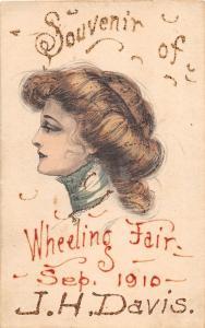 E83/ Wheeling Fair West Virginia Postcard 1910 Woman Souvenir