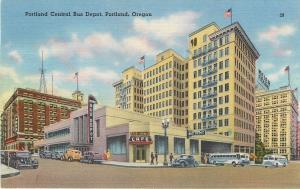 Portland Oregon~Lewis Cafe~YMCA~Art Deco Central Bus Depot~1940s Postcard