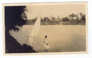 RP  Man with sailing vessel on Nile River, EGYPT, 1910s