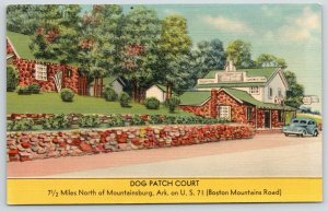 Mountainsburg Arkansas~Long Stone Wall and Office~Dog Patch Court Motel~1940s