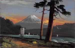 Japan Mount Fuji volcano boats landscape, mountain