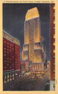 Cincinnati Ohio~Fountain Square & Carew Tower @ Night~1940s Linen Postcard