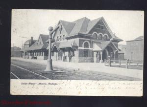 MUNCIE INDIANA UNION DEPOT RAILROAD TRAIN STATION VINTAGE ANTIQUE POSTCARD