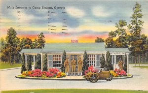 Military Post Card Main Entrance to Camp Stewart Georgia, USA 1957