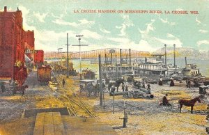 La Crosse WI Harbor & Mississippi River Ships Railroad  Postcard