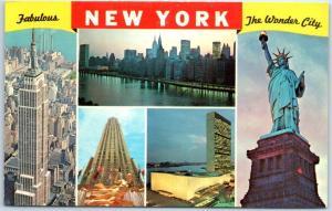 New York City Postcard Big Letter Wonder City State Liberty Empire State Bldg