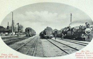 C.1910 Train Yard Railroad Engines Trains Depot, Tracy, California Postcard P51