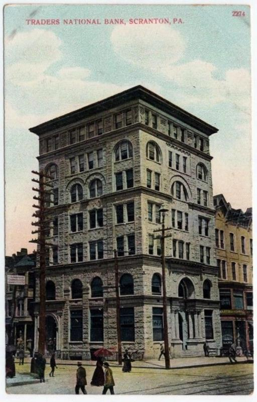 1907-1915 Scranton PA Traders National Bank Building RARE DB Divided Postcard