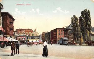 Haverhill Massachusetts~Washington Square~Victorian Lady~Trolley~Laundry~1908 PC
