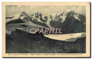Postcard Old Aiguille Glacier Tre Tete and Mont Blanc seen from Miravidis Pet...