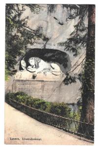 Switzerland Luzern Lowendenkmal Lion Monument Postcard