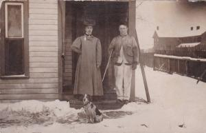 RP: Hunter With Rifle Stands w/Wife + Dog in Snow, 1904-1918